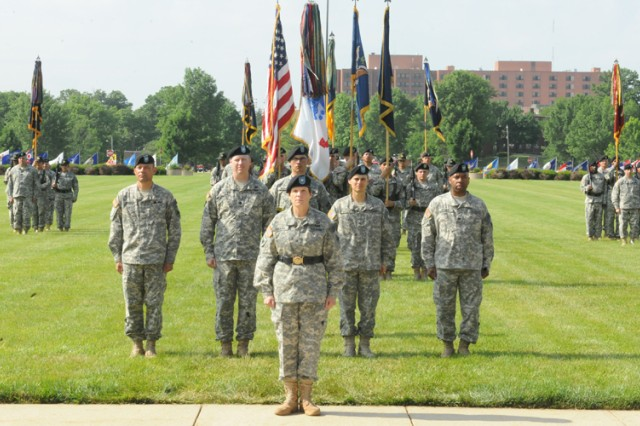 Brig. Gen. Maria Gervais stands before the Chemical Corps Regiment as the 28th Chief of Chemical at the conclusion of the Assumption of Commandancy ceremony Tuesday.