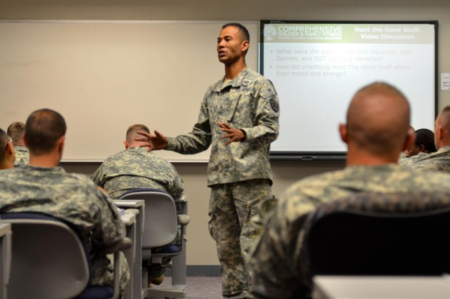 Army Staff Sgt. Al Janey, a Master Resiliency Training Instructor, assigned to the MRT Team, teaches a class of in-processing Soldiers about the benefits of being fully aware of how their thoughts and actions affect their everyday decisions at the Education Center here May 19. The MRT was implemented to help all in-processing Soldiers learn how to cope with life issues.