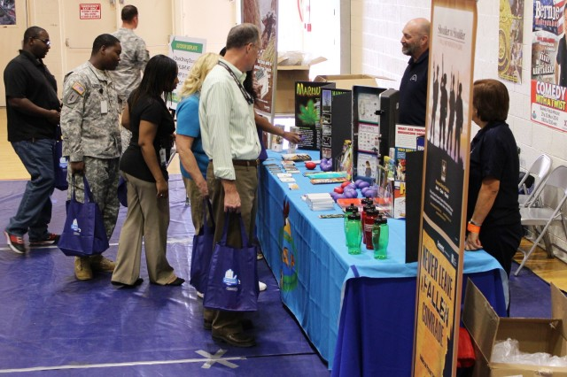 Located in the corner of the Barnes Field House gym, the Army Substance Abuse Program table was frequently visited during the Summer Safety Awareness Expo May 29 -- 30. The table highlighted various types of drugs and provided different pamphlets on alcohol and substance abuse.