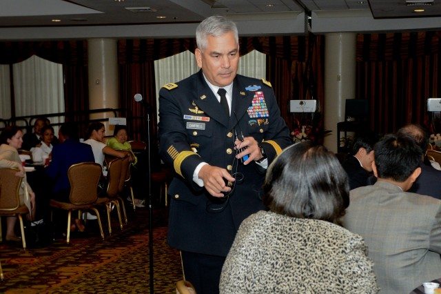 Vice Chief of Staff of the Army Gen. John F. Campbell speaks about leadership and mentoring, during a visit with Asian American Government Executives Network, in Arlington, Va., June 5, 2014. The AAGEN is a nonprofit supporting Asian-American and Pacific Islander leadership in government.