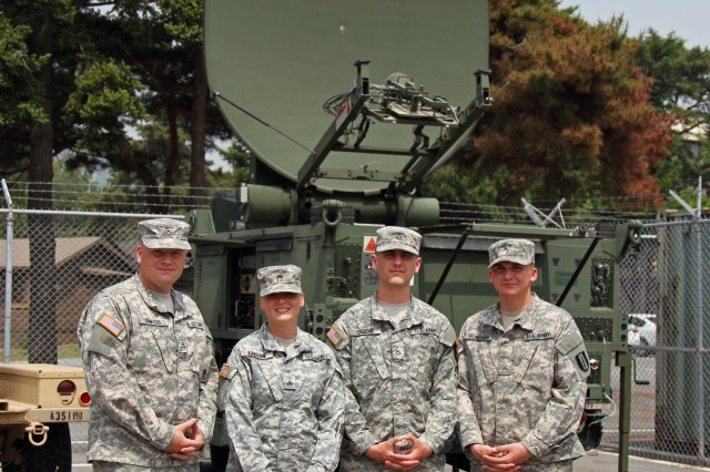 Soldiers from Alpha Company, 304th Expeditionary Signal Battalion, 1st Signal Brigade, pose for a photo in front of their Phoenix tactical satellite at Camp Red Cloud, South Korea May 28. The signal support team was providing support to Headquarters and Headquarters Battalion, 2nd Infantry Division, during a training exercise. (U.S. Army Photo by Spc. Gregory T. Summers)