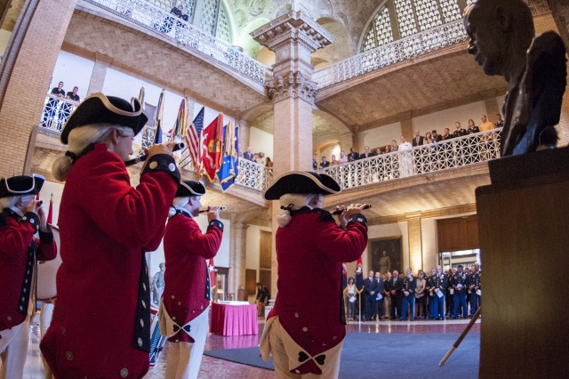 Fife and Drum Corps Soldiers with the 3rd U.S. Infantry Regiment (The Old Guard), provide ceremonial support during a celebration commemorating the Army's 239th birthday.  The event was held in the Roosevelt Hall Rotunda at the National War College on Fort Lesley J. McNair, in Washington, D.C., June 6, 2014.