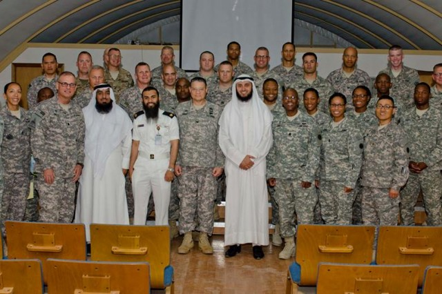 Active Duty, Army Reserve and National Guard UMT personnel deployed to Kuwait had the opportunity to learn how the Kuwait military takes care of the religious needs of its Soldiers, Sailors, Airmen and Marines at a religious and cultural affairs information exchange program with staff members from the Kuwait Ministry of Defense Directorate of Moral Guidance and Public Relations (DMG).