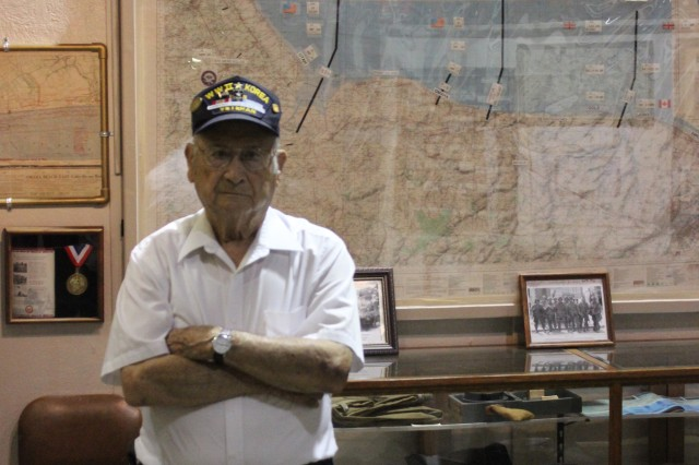 D-Day veteran Harold McMurran of New Market visits the Veterans Memorial Museum in Huntsville, Ala., which has a permanent D-Day exhibit. The museum, off Airport Road in Huntsville, is open Wednesday through Saturday from 10 a.m. until 4 p.m.