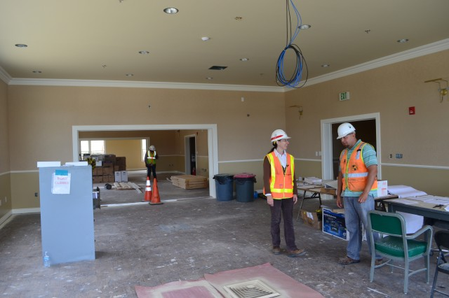 The interior of the cultural center undergoes renovations at the Presidio of Monterey in Monterey, Calif., May 8, 2014. The cultural center is one of several major construction projects at the Presidio managed by the U.S. Army Corps of Engineers Sacramento District and is scheduled to be complete August 2014. The program incorporates the latest energy and water conservation technologies in order to operate more efficiently and in a sustainable, environmentally friendly manner. (U.S. Army photo by Capt. Michael N. Meyer/Released)