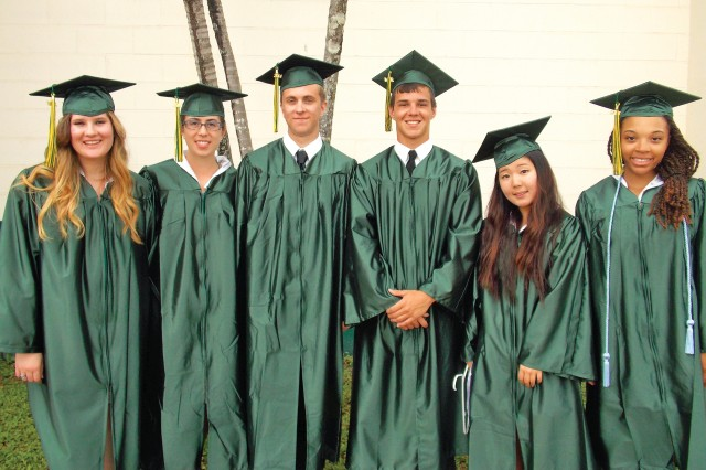 Leilehua High School co-valedictorians (from left) Lady Jane Lizabet, Mary Eccles, Henry Eccles, Michael Chapman, Ka Ram Yang and Mya Moore assemble for a photo.