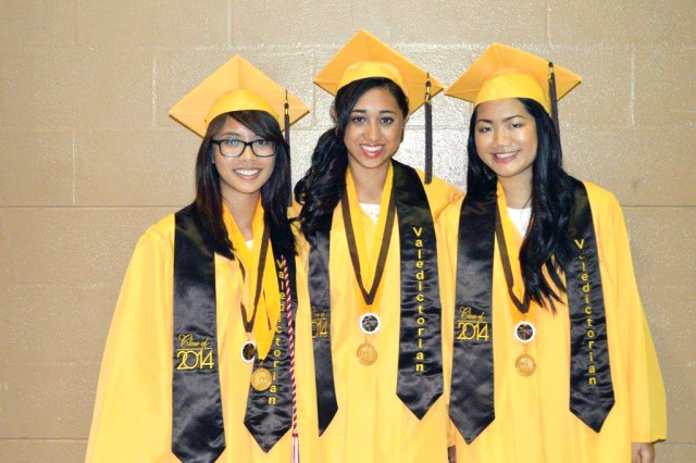 Mililani High School co-valedictorians (from left) Adriene Unpingco, Tierra Gogue-Garcia and Kiana Keller gather for a photo.