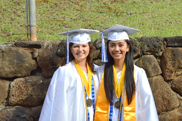 Moanalua High School co-valedictorians Nikita Price and Chelsey Mae Dizon gather for a remembrance photo.
