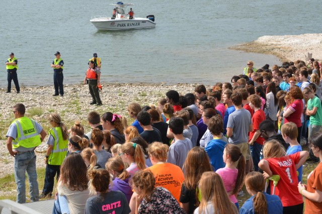 About 250 students, parents and staff from Whitney Middle School viewed a simulated rescue and recovery operation at Walling Bend Park on Whitney Lake. This was part of a water safety program created by U.S. Army Corps of Engineers park rangers to discourage cliff jumping.