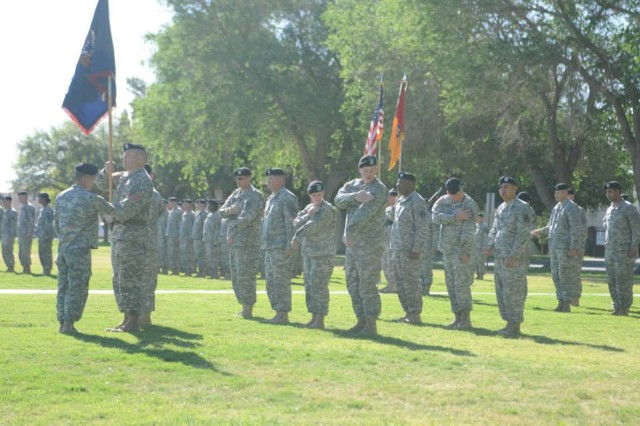 Soldiers of 1st Battalion, 415th Regiment, 402nd Field Artillery Brigade, during the transfer of authority ceremony, adorn the First Army patch and officially taking over the CONUS Replacement Center mission April 25 at Memorial Field on Fort Bliss, Texas. (Photo by 1st Lt. Bobby McDonald, 1st Battalion, 415th Regiment, 402nd Field Artillery Brigade, Division West)