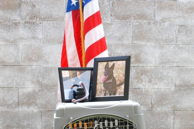 A memorial paid tribute to Kyra, a military working dog that died in March. Kyra had been part of the law enforcement mission at Fort Irwin since 2008. A ceremony May 28 honored her life and service to the community here.