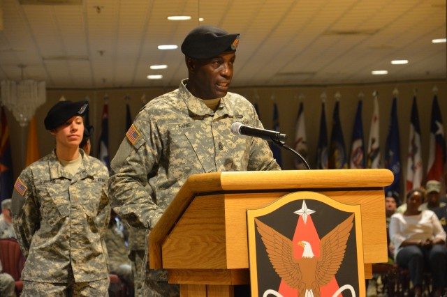 Command Sgt. Maj. Norriel Fahie addresses audience members at the 1st Space Brigade's Change of Responsibility at the U.S. Army Space and Missile Defense Command/Army Forces Strategic Command's Peterson Air Force Base, Colo., headquarters June 5.