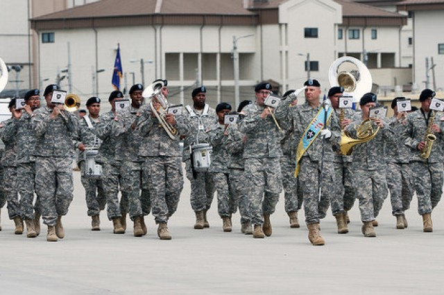 "The 2nd Infantry Division ""Warrior"" Band plays traditional ceremonial music during the 2nd Combat Aviation Brigade change of command ceremony June 5, 2014.  (U.S. Army photo by Sgt. Nicole Hall, 2nd CAB PAO)"