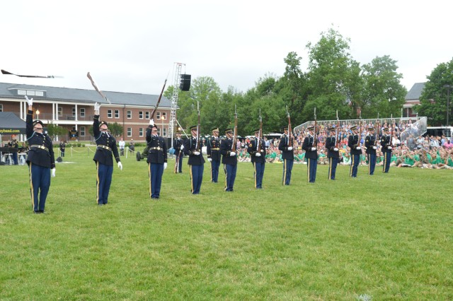 "Soldiers from the 3rd U.S. Infantry Regiment (The Old Guard) and the U.S. Army Band ""Pershing's Own"" perform during Twilight Tattoo held at Joint Base Myer-Henderson Hall, Va., June 11, 2014."