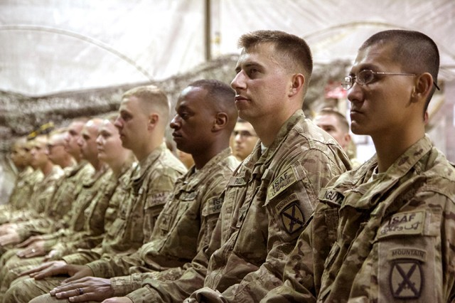 Headquarters and Headquarters Battalion, 10th Mountain Division (LI), conduct a noncommissioned officer induction ceremony June 6, 2014, at Bagram Airfield, Afghanistan.