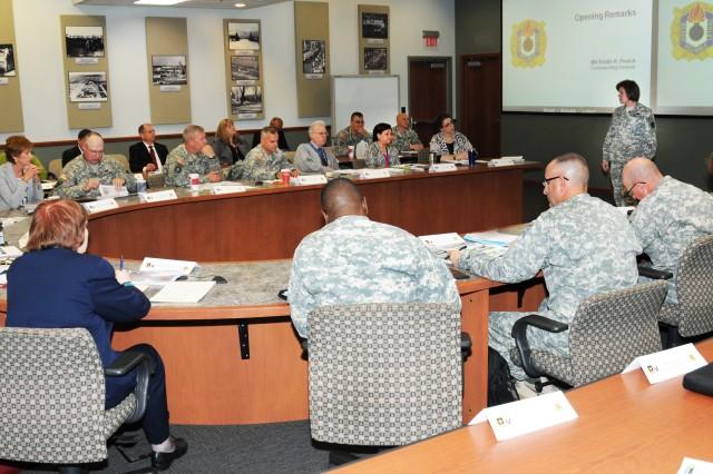 Brig. Gen. Kristin K. French, JMC commander, discusses the agenda for the JMC Senior Leaders Forum held at the Rock Island Arsenal, 10 June.
