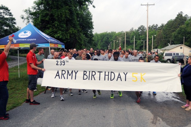 More thank 150 Soldiers, Civilians and friends of Fort A.P. Hill participated in the post's Army Birthday celebration and 5 kilometer run June 13 at Wilcox Camp.