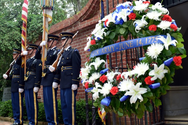 Members of the 3d U.S. Infantry Regiment (The Old Guard) take part in a wreath-laying ceremony at President George Washington's Mount Vernon estate, Alexandria, Va., June 13, 2014.