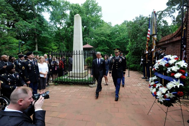 Secretary of the Army John McHugh arrives at the tomb of the Army's first commander-in-chief, George Washington, at Washington's Mount Vernon estate, Alexandria, Va., June 13, 2014.