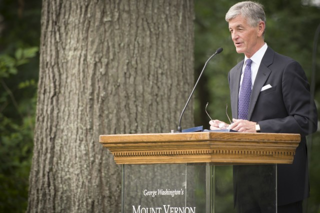 Secretary of the Army John McHugh speaks at President George Washington's Mount Vernon estate, kicking off events for the Army's 239th birthday, Alexandria, Va., June 13, 2014.