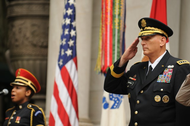 "Chief of Staff of the Army Gen. Ray Odierno renders a hand salute during a rendition of the national anthem before the opening of events commemorating the Army's 239th birthday themed -- ""America's Army: Our Profession,"" June 13, 2014, in Bryant Park, Manhattan."