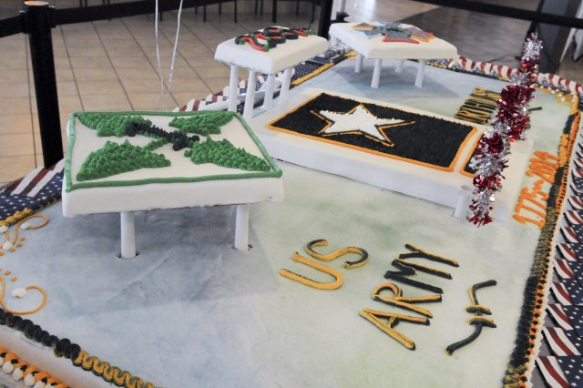 FORT CARSON, Colo. -- Stack Dining Facility chefs created a six-foot by three-foot cake that weighed 150 pounds, and displayed it before the Army birthday celebration at Fort Carson, Colo., June 12, 2014. (Photo by Sgt. Eric Glassey, 4th Inf. Div. PAO)