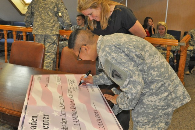 Dianne Longo, Tax Center volunteer, and Spc. Samuel Jung, paralegal specialist, sign a symbolic check representing the $4.4 million in tax refunds saved by center patrons during a closing ceremony June 12.