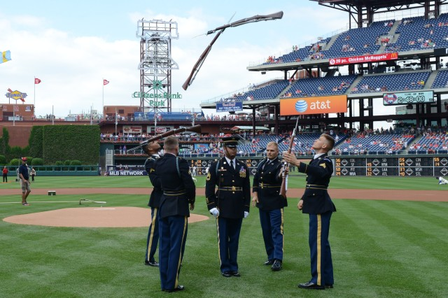 U.S. Army Drill Team Soloists with the 3rd Infantry Regiment (The Old Guard), perform in front of thousands of fans at Phillies Citizens Bank Park Stadium in Philadelphia, June 14, 2014.