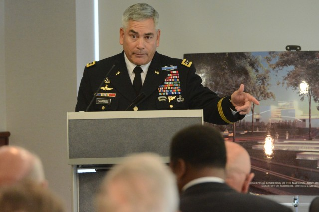 """Vice Chief of Staff of the Army Gen. John F. Campbell speaks about the importance of opening the National Museum of the United States Army. He spoke at the Association of the United States Army-sponsored Army Historical Foundation """"Industry Leadership Reception"""" at AUSA headquarters in Arlington, Va., June 16, 2014."""