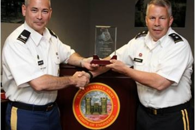 Deputy Provost Marshal General, COL Dan McElroy, Presents Major General Todd Semonite, Deputy Commanding General (USACE), with the FY13 Best Antiterrorism (AT) Program Award (Major Subordinate Command).