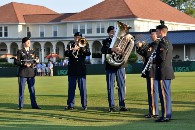 PINEHURST, N.C. (June 14, 2014) - The Army Ground Forces Band brass quintet plays 'America the Beautiful,' during the U.S. Golf Association Operation Open Glory salute to our nation's military and celebration of the 239th Army birthday.