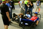 Army athletes line up their recumbent bikes before the start of the Warrior Trials