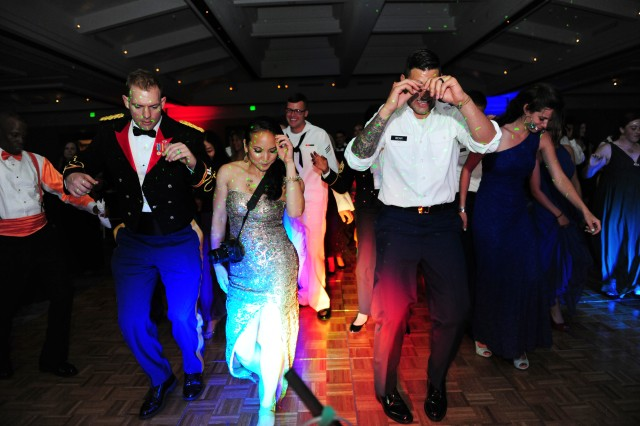 PRESIDIO OF MONTEREY, Calif. - Attendees of the 229th Military Intelligence Battalion Army Birthday Ball put the dance floor inside the Monterey Hyatt Regency Hotel's Grand Ballroom to good use during the final hours of the night June 7.