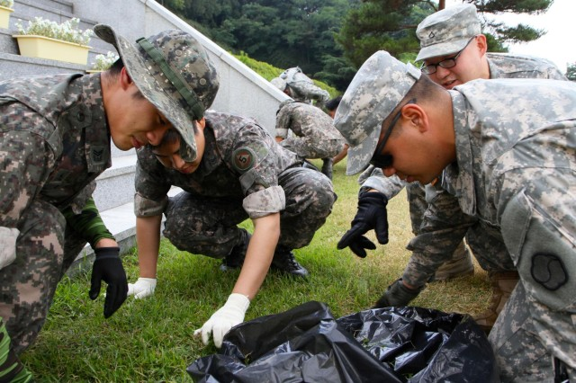 Soldiers from the United States Army's 19th Expeditionary Sustainment Command and Republic of Korea Army's 5th Logistics Support Command mark the ROK Remembrance month by cleaning the Apsan Memorial Park, June 18. The month of June is a designated memorial period for all Koreans as well as the anniversary of the start of the Korean War. The U.S. and ROK Army partner in these community activities strengthening the ongoing alliance which has been sustained for over 60 years.