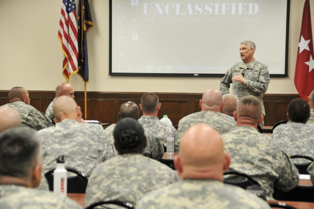 Sgt. Maj. of the Army Ray Chandler shared Department of the Army information and answered questions from the most senior non-commissioned officers in the Army National Guard from every state and territory, and the District of Columbia, during the 2014 Army National Guard Senior Enlisted Professional Development Workshop, held at Atterbury-Muscatatuck in Edinburgh, Ind., June 16-19, 2014.