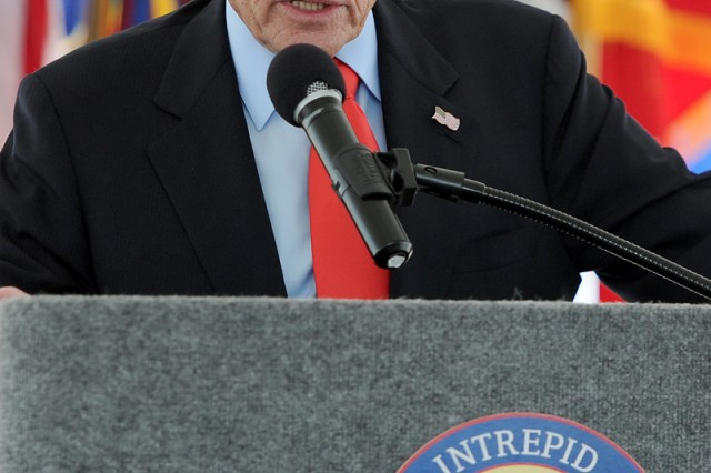 Arnold Fisher, honorary chairman, Intrepid Fallen Heroes Fund, serves as one of the speakers during the NICoE Satellite Center groundbreaking ceremony at Fort Hood, Texas, June 12, 2014.