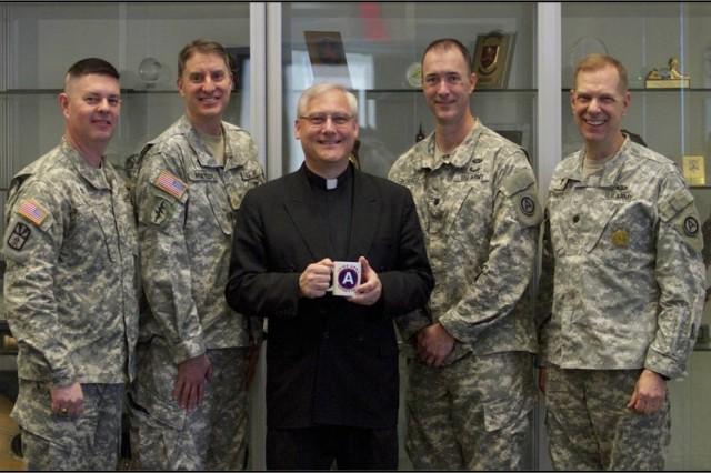 Chaplain (Maj.) Matt Hall; Chaplain Kevin Mateer; Forum coordinator, Retired USAF Chaplain (Col.) John Linsky; Chaplain Jon Bouriaque; Chaplain James Schaefer, USARCENT Deputy Command Chaplain.