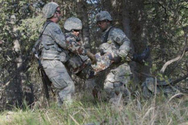 Air Force Staff Sgt. Lucas Wacker, assigned to 673d Comptroller Squadron, and Army Spc. Eleodore Montes, assigned to the 6th Engineer Battalion (Combat) (Airborne), carry a wounded Nepalese Army Ranger to a casualty collection point during the Situational Training Exercise portion of the U.S. Army Alaska Warrior Leader Course on Joint Base Elmendorf-Richardson, Friday, May 16, 2014. The Warrior Leader Course, formerly called Primary Leadership Development Course (PLDC), is the first leadership course Army noncommissioned officers attend. WLC is a month-long, hard hitting and intensive course that teaches the basic skills to lead small groups of Soldiers and advance to the rank of Sergeant. (U.S. Air Force photo/Justin Connaher)
