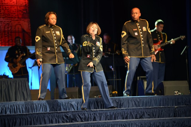 "The U.S. Army band, ""Downrange,"" entertained more than 1,000 Soldiers and family members during the 2014 Army Birthday Ball, June 21, 2014, at National Harbor, Md."