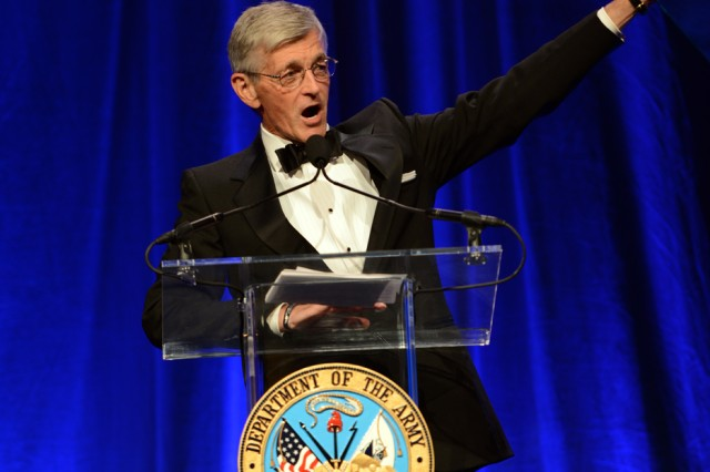 Secretary of the Army John M. McHugh said the Army has been building men and women of character, leaders of our nation, for all of its 239 years.  He spoke during the 2014 Army Birthday Ball, June 21, 2014, at National Harbor, Maryland.