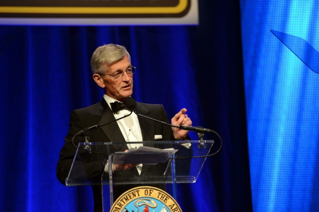 Secretary of the Army John M. McHugh said the Army has been building men and women of character, leaders of our nation, for all of its 239 years.  He spoke during the 2014 Army Birthday Ball, June 21, 2014, at National Harbor, Md.