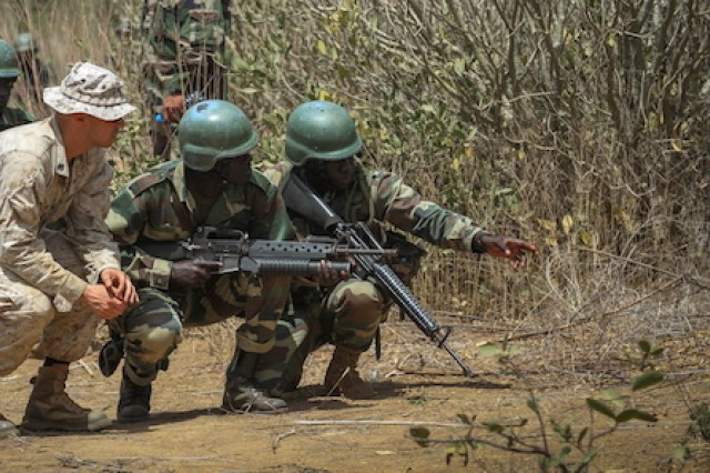 Marine Sgt. Bryan Ballard, an infantryman and class instructor with India Co., 3rd Bn., 23rd Marine Regiment, observes Senegalese Soldiers as they point out a potential simulated Improvised Explosive Device. The unit trained Soldiers from different nations in various techniques and procedures for detecting and reacting to IEDs during Exercise Western Accord. Exercise Western Accord is a U.S. Africa Command sponsored and U.S. Army Africa led annual joint training partnership exercise between the United States, the Economic Community of West African States and partner nations. The exercise, held in Senegal this year, is designed to increase interoperability between military forces and ensure the common ability to conduct peace operations throughout western Africa.