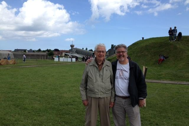Gene and Jim Noble are pictured June 5 in the World War II air memorial at Merville-Franceville, France, two days before the D-Day pilot was inducted into the French Legion of Honour. Jim works as the chief of U.S. Army Corps of Engineers Europe District's Engineering Branch in Wiesbaden, Germany.