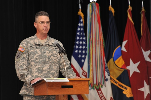Brig. Gen. Joseph M. Martin gives opening remarks during the Training and Education 2025 and Beyond Industry Forum, at Fort Eustis, Va., June 18, 2014.  Martin is the deputy commanding general of the Combined Arms Center-Training, which hosted the event. At the forum, Army officers and civilians told defense industry representatives about the Army's future needs to educate and train Soldiers.