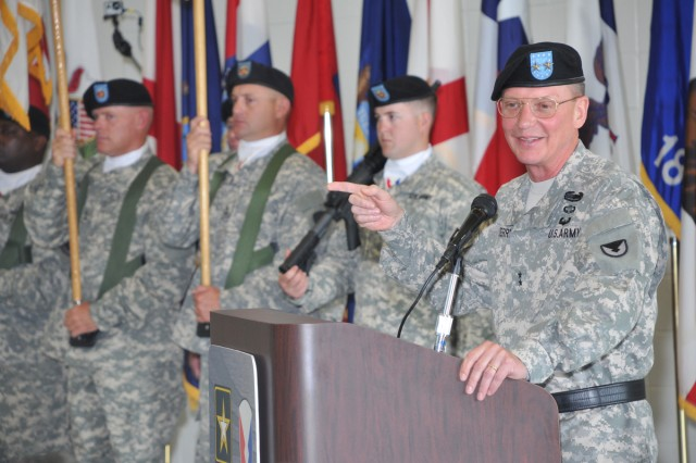Outgoing TACOM Commander Maj. Gen. Michael J. Terry makes his remarks during the TACOM change of command ceremony.