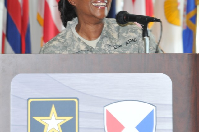 New TACOM Commander Maj. Gen. Gwen Bingham makes her remarks during the TACOM change of command ceremony.