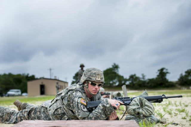 Staff Sgt. James Thornton, a combat engineer from Spartanburg, S.C., with the 323rd Engineer Company gets ready to fire his M16 rifle on a zero range during the 2014 Army Reserve Best Warrior Competition at Joint Base McGuire-Dix-Lakehurst, New Jersey, June 25. (U.S. Army photo by Sgt. 1st Class Michel Sauret)