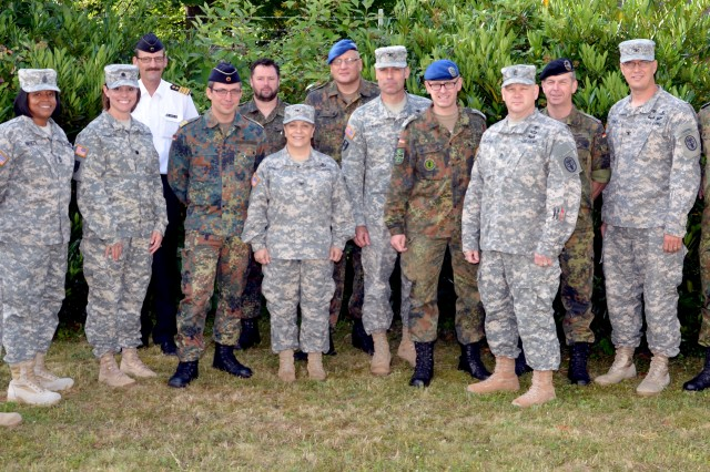 Soldiers from Europe Regional Medical Command, U.S. Army Europe Office of the Command Surgeon and 30th Medical Brigade met with Bundeswehr Medical Service members in Koblenz, Germany, June 26 to discuss possible partnering opportunities for both countries' medical personnel.