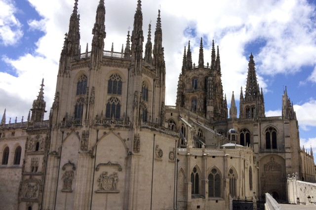 This is the rear entrance into the 13th century Cathedral de Santa Maria, located in Burgos, Spain.  Barney Schulte, a structural engineer in the U.S. Army Corps of Engineers Nashville District, captured this photo May 13, 2014 during his 490-mile pilgrimage of Camino de Santiago, an ancient path that Christians retrace for spiritual renewal.