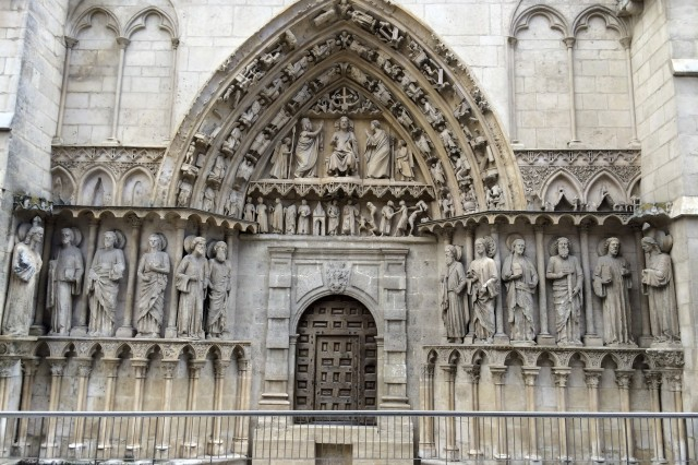 This is the side entrance into the 13th century Cathedral de Santa Maria, located in Burgos, Spain..  Barney Schulte, a structural engineer in the U.S. Army Corps of Engineers Nashville District, captured this photo May 13, 2014 during his 490-mile pilgrimage of Camino de Santiago, an ancient path that Christians retrace for spiritual renewal.